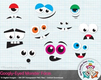 Halloween Clipart | Monster Faces Clipart | Googly-Eyed Monsters | Funny Faces | Digital Clipart