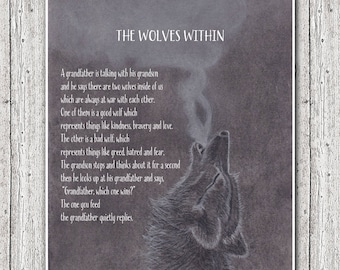 The Wolves Within Parable, Native American Poem Wolves Within Print, Giclee Print