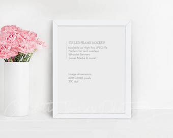 Frame Mockup, 8x10 Frame Mock Up Photography, White Frame Styled with Pink Flowers, Girly landscape Mockup Stock Photo