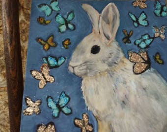 Rabbit  painting, bunny floral, fantasy butterflies,  painting 8x10 original on canvas panel