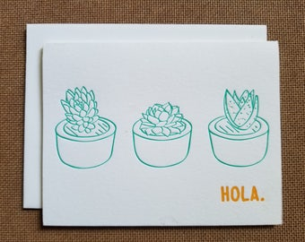 Letterpressed Hola Cards - 5 pack