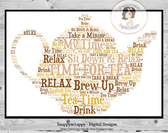 Teapot Typography, Teapot  Word Art.   Print Your Own,  Instant Download