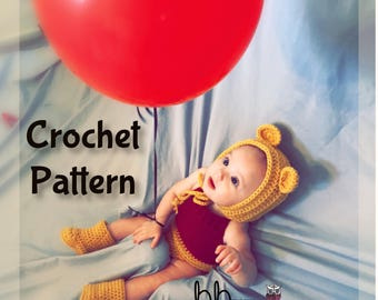 Winnie the Pooh Inspired Baby Outfit - PATTERN ONLY - Crochet - Size Newborn-12 month