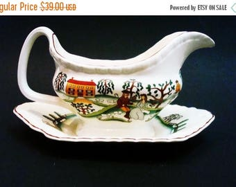 ON SALE NOW Mason's Country Lane Gravy Boat with Underplate