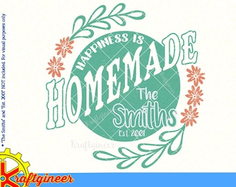 Farmhouse SVG Kitchen svg Happiness is homemade svg rustic svg sign svg Commercial Use svg dxf cut file for Cricut Silhouette Scan N Cut