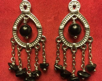 Black Jasper Boho Goth Hippie Earrings