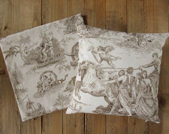 pillowcase 40x40cm made of Toile de Jouy, french country style, scenes from Ovid's Metamorphoses, cushion cover beige brown, pure cotton