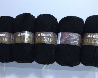 Raven Black Patons Wool Yarn Decor Wool Blend Crocheting or Knitting Yarn for Handmade Accessories & Fiber Art Projects Yarn Supply Excess