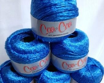 7 Skein Bundle Can Can Yarn Shimmery Yarn Vintage Jakobsdalsgarn Yarn Bright Aqua Blue Fiber Art Yarn Made in Sweden for Fine Fiber Work