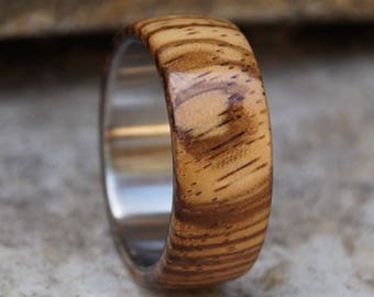 Zebrano Band, Wood Ring, Men Ring, Stainless Steel Ring, Wedding Ring