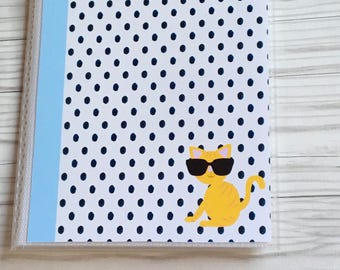 Polka dot cat planner sticker book, planner accessories, sticker album, sticker storage