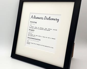 Framed Print. A Runners Dictionary.