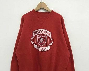 20% OFF Vintage Wisconsin Badgers Sweatshirt/Wisconsin Sweater/Wisconsin Spell Out