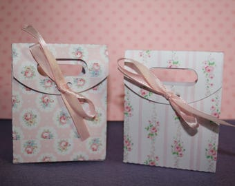Set of 6 gift wrapping made handmade with love in cardboard, shabby chic or choose pattern