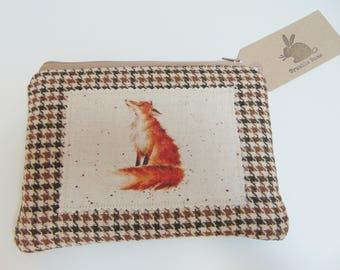 Handmade Fox Makeup Bag, Wrendale Designs fabric, County Foxes, Tweed Padded Zip Pouch