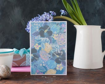 Impressionist Mother's Day card, your words on the front, all over flower pattern, floral,personalised, flowers, for her, a mother, a mum