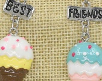 Best Friends Ice Cream Cones Pendant Necklaces