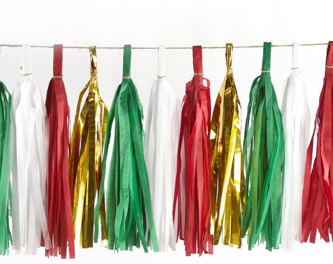 Deck The Halls Tassels, Tissue Tassels, Tassel Banner, Christmas Party Decor, DIY Tassels, Baby Shower Christmas Seasonal Holiday Garland
