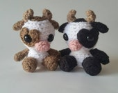 Mini Crochet Cow, Stuffed Animal Cow, Mini Plush Cow, Kid's Birthday Gift, Cow Lovey, Farm Animal Plush, Gifts under 30, Mini Amigurumi Cow