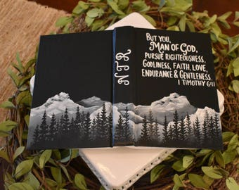 Hand Painted Bible | Mountain Landscape | Man of God | Custom Scripture | Personalized | Home Decor Keepsake