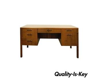 Vintage Mid Century Modern Founders Walnut Executive Writing Desk Milo Baughman