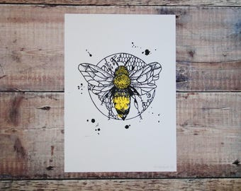 Bumble Bee A4 Print - Screen Print - Nature Illustration - Wall Art - Decorative Print
