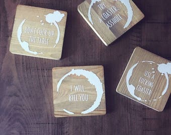 Set of four RUDE coasters