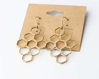 Brass Hexagon Earrings Honeycomb Earrings Geometric