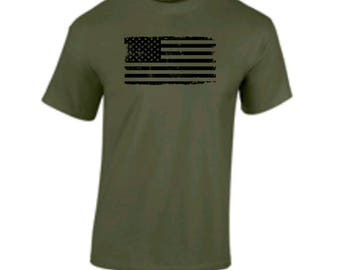 Tattered Distressed American Flag T Shirt Military Army Marines