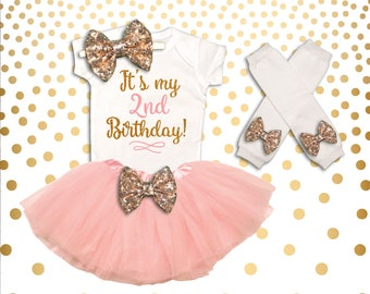 2nd Birthday Outfit Girl Pink and Gold Second Birthday Outfit 2nd Birthday Tutu Set Second Birthday Outfit 2nd Birthday Shirt Girl