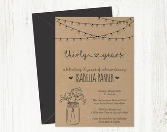 Printable Birthday Invitation for Women Template - Rustic Mason Jar Lights Instant Download PDF - 30th 40th 50th 60th 70th 80th Woman Adult