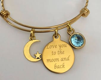 Love you to the Moon and back bracelet with birthstone-gold plated stainless steel