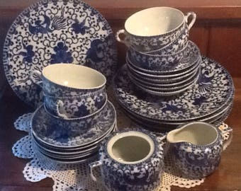 Vintage, Phoenix Bird, Flying Phoenix, Flying Turkey, Porcelain, Luncheon, Dish Set, 26 pieces, blue transfer ware, cottage
