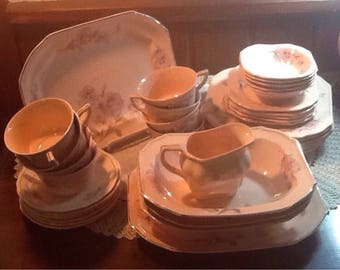 Antique, Vintage, TS&T, Taylor Smith, Dish Set, Pink, Floral, One of a kind Shabby Chic, Cottage, rectangular