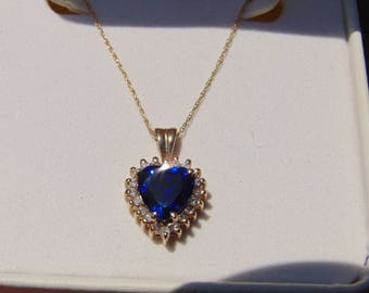 Striking Heart Cut Blue Sapphire & Diamond Pendant Necklace, Beautiful Estate Found Piece.