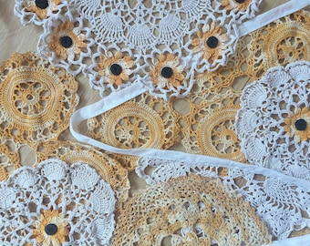 Vintage Crochet Doily Bunting Wedding Party Decoration Garland 3m Gold Sunflowers