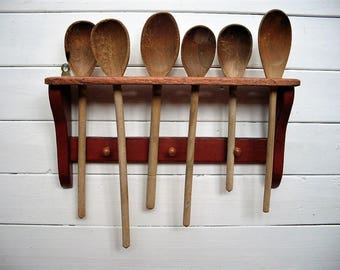 Primitive Wooden Spoon Holder #10