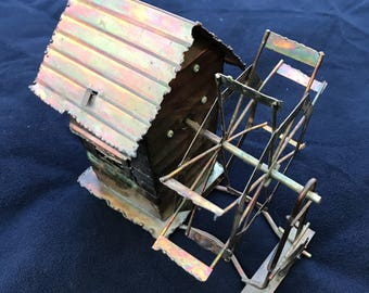 Vintage Metal Tin Wind Mill Music Box Wind Up, Decorative, Musical