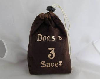 Dice Bag Pouch Velvet Dungeons and Dragons D&D RPG Role Playing Die Brown Does a 3 Save Reversible Lined
