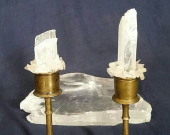 Selenite TWIN FLAMES Crystal // Selenite Crystal Candle Holders // Crystal Home Decor Gift // Vintage Brass // Eternal Flame White Candles