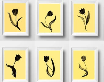 Tulips Set of 6 print watercolor floral wall art yellow and black minimalist flower livingroom office baby girl nursery teen picture decor