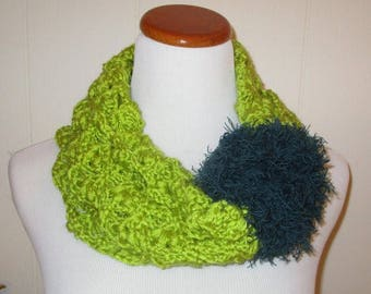 SALE: Cowl, Chartreuse  Soft Texture Crocheted Cowl With Blue Plume,Unique One Of A Kind Neck Cozy,Green Statement Cowl,
