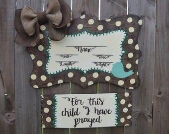 Hospital Door Hanger, Hospital Door Sign, Baby Shower Gift, Baby Announcement, Baby Door Hanger, Baby Sign, Religious Baby Announcement