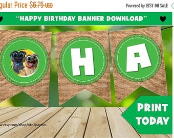 60% OFF Puppy Dog Pals Happy Birthday Banner - Instant Download - Puppy Party -  Happy Birthday - 1 per page - Print Today - Party Signs - B