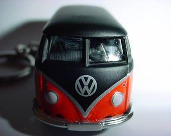 3D Volkswagen Bus custom keychain by Brian Thornton keyring key chain finished in black/flames trim diecast metal body vw van
