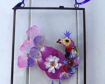 Pressed Flower Art: 'Bird'. Hand-made, unique pressed flower picture.
