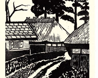 "Japanese Ukiyoe, Woodblock print. Sosaku-Hanga, ""Private house"""