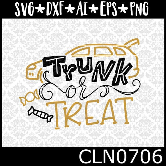 CLN0706 Trunk or Treat Halloween Christian Candy Church Pun SVG DXF Ai Eps PNG Vector Instant Download Commercial Cut FIle Silhouette Cricut