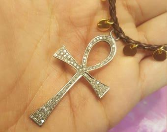 Pavè Diamond Ankh Necklace