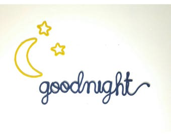 Dream Nursery, Moon Nursery Decor, Moon and Stars Wall Decor, Goodnight Nursery Art, Goodnight Moon Wall Hanging, Wire Wall Art